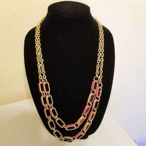 Talbots long pink and coral necklace